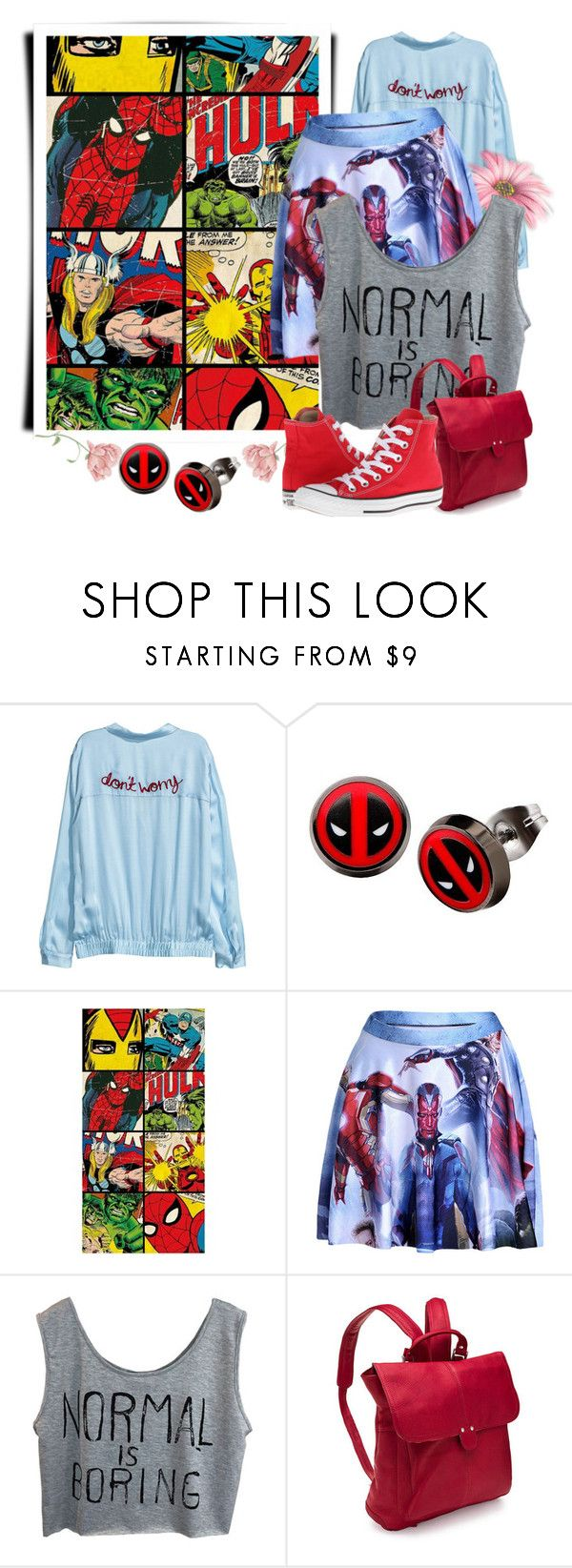 """""""Normal is Boring"""" by adelinejaned on Polyvore featuring Marvel, Le Donne and Converse"""