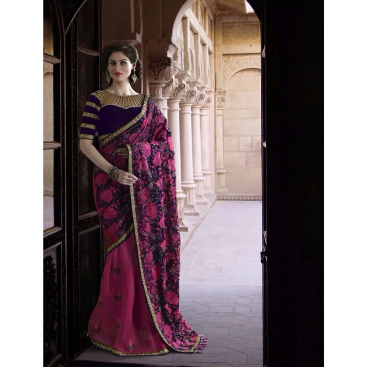 Pink and Violet Georgette Indian #Saree With Blouse- $173.33