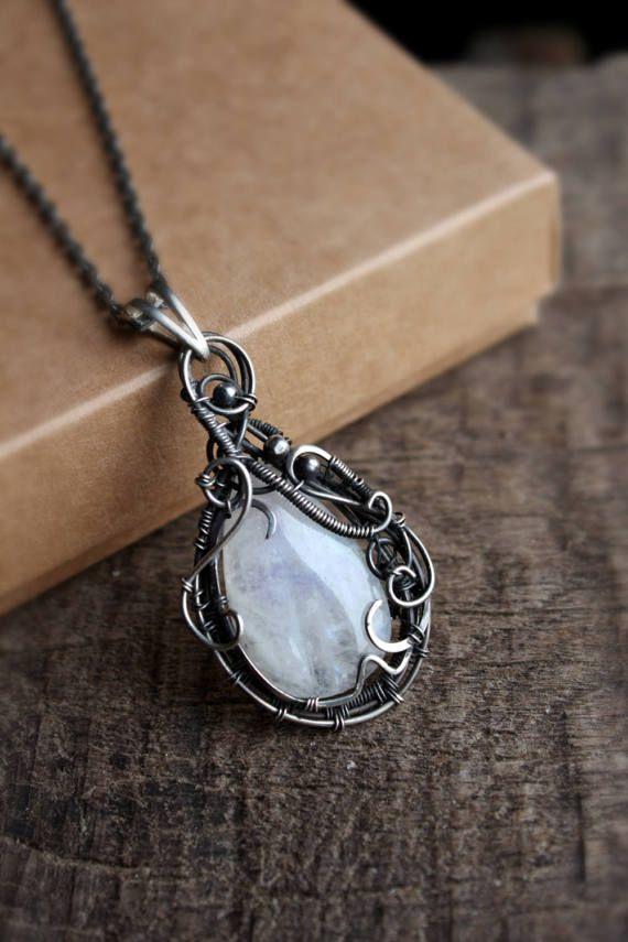 Silver moonstone pendant Rustic Wedding jewelry  white by TiKorali