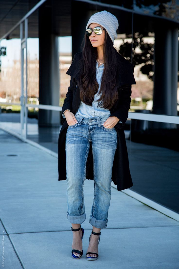 Casual street style - Beanie from Gap | Black Coat from Guess | Heels from BCBG Max Azria | Jeans from Buckle | Chambray top from American Rag