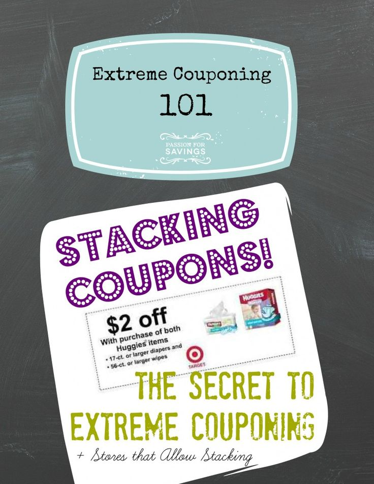 The SECRET to Extreme Couponing is Stacking Coupons! Find out how you can use 2 coupons on one item in this post! Great tips on how to know which coupons to use and which stores actually allow stacking in their coupon policy!