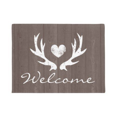 Vintage #country  #chic #rustic  #deer  antler door mat - click/tap to personalize and buy #countryliving #countryhome #countrylife #welcome #antlers #door #doormat #rusticdecor #homesweethome #homedecor #homestyle