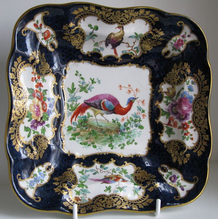 Antique Booths Scale Blue Silicon China Exotic Birds Square Dish