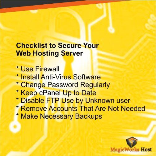 Checklist to Secure your #Web #Hosting #Server....Beginner's Guide to #Webhosting #webdeveloper #Webdesigner #Webhostguide
