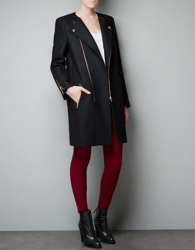 Ok so I don't *do* high street, but Zara have some really nice lines in this season's winter coats... check out ZIP BIKER COAT