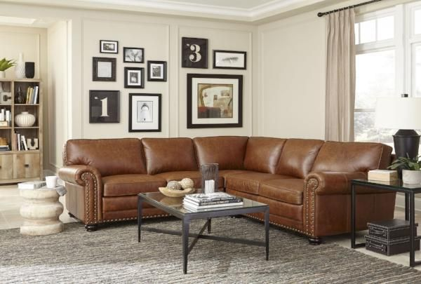 Hardwick Leather Sectional In 2020 Leather Sectional Living Room Decor Room Decor