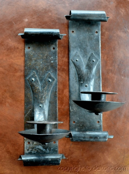 Mission Style Candle Wall Sconces : Arts & Crafts - Pair of Gustav Stickley iron candle wall sconces - Craftsman - candle holders ...