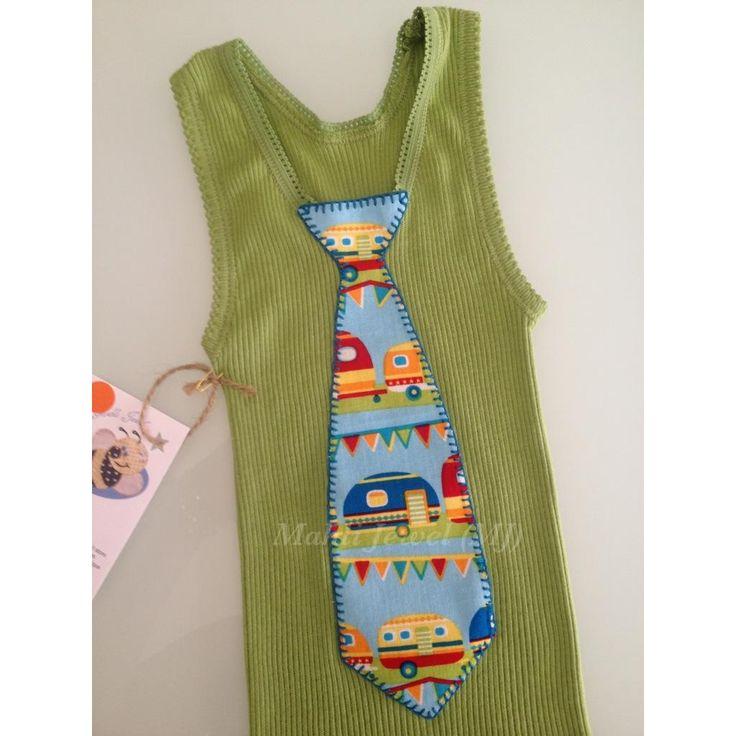 $15.00 BT3160 Sz 1 Boys olive green top with Retro Caravan tie by MahliJewelMJ on Handmade Australia