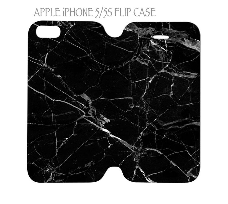 iPhone 5 / 5s Flip Case Folio Cover Black Marble #QuinnCafe