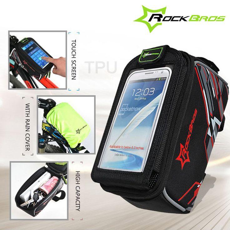 Rockbros 터치 스크린 자전거 가방 6.0 ''4. 8 ''전화 iphone 6/7 케이스 자전거 MTB 도로 자전거 전면 상단 프레임 크로스바 튜브 가방