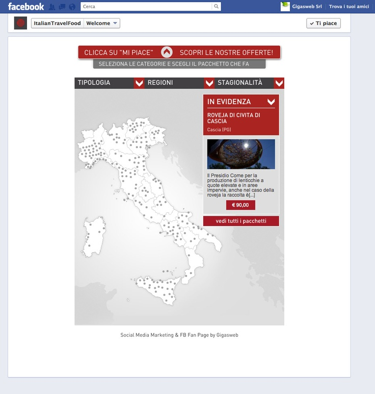 Cliente: Italian Travel Food  Attività: Realizzazione creatività e sviluppo fanpage interattiva.