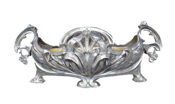 French Art Nouveau Silver Centerpiece Jardiniere - French Country Cottage Cache Pot - Interior Table Commode Cache Pot Belle Epoque