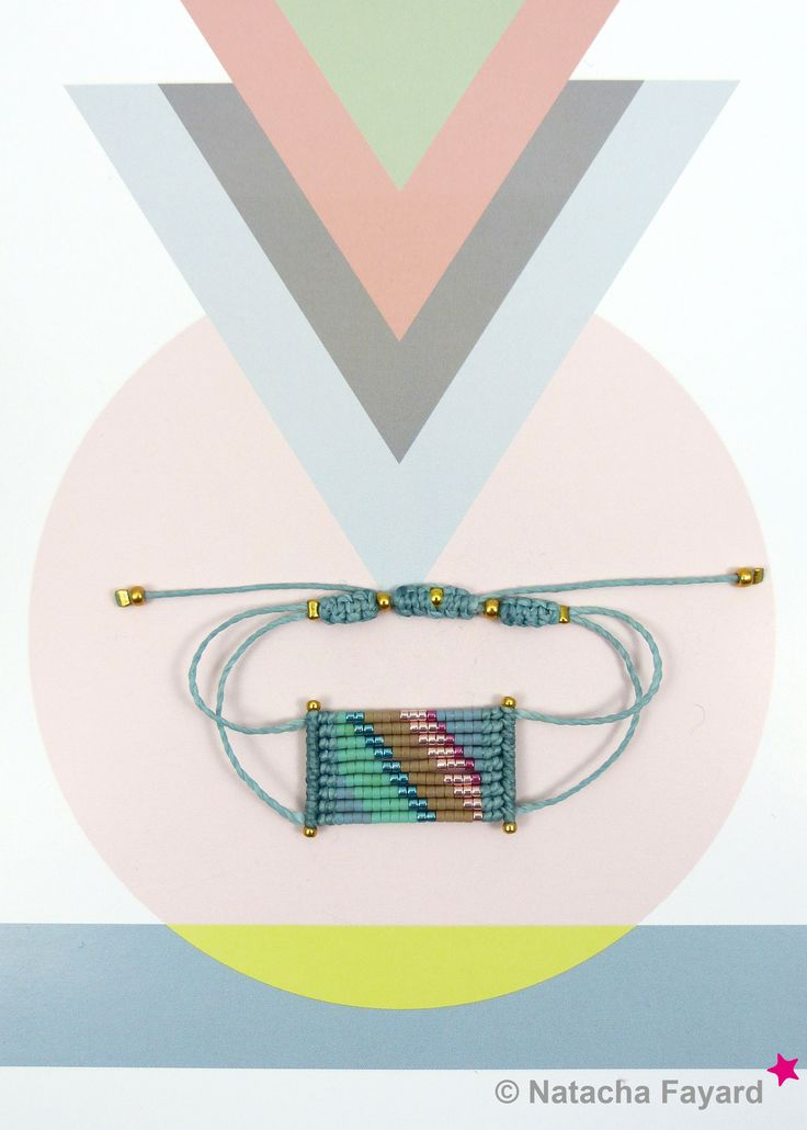 Micro macrame bracelet, with miyuki delica seed beads - stripe patterns. Colors : blue jean (niagara blue), teal, green, hazelnut, pink, fuchsia gold. © #bracelet #miyuki #delica #macrame #micromacrame #multicolore #ss2017 #niagara #blue #jean #teal #hazelnut #green #pink #fuchsia #gold #etsy #stripe