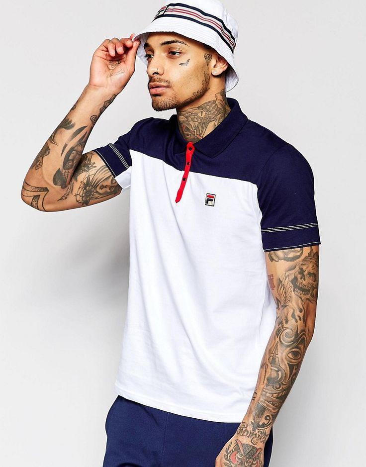 Fila+Vintage+Polo+Shirt+With+Cut+And+Sew+Panel