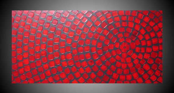Red and Grey wall art Abstract Acrylic Painting with Squares Modern wall art deco 48 x 24 Ready to Hang Made to Order on Etsy, $339.00