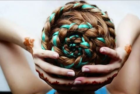 braided hairstyle with ribbon