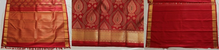 This red saree is of a perfect combination as a Bridal Silk saree. With Paisley designs done in gold zari work. Its highly embossed with heavy zari work with patterned motifs on its whole body especially in the middle of the saree. The other saree is pure red with golden border which is simply elegant and classy. for more updates for Bridal silk saree  www.kanchisilks.com and https://www.facebook.com/KanchiSilks
