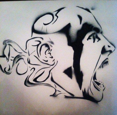 #art #arte #kunst #illustratie #illustration #graff #graffiti #graffitiart #sprayart #streetart #rook #smoke #fumo #sigarette #psychedelic #acid #abstract #blackwhite #zwartwit #man #scream #screaming