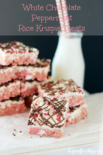 White Chocolate Peppermint Rice Krispie Treats