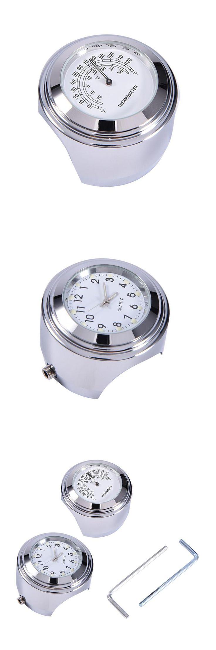 [Visit to Buy] 1PCS Waterproof 7/8 Motorcycle Handlebar Black Dial Clock Temp Thermometer for YAMAHA for Harley Davidson Motor #Advertisement