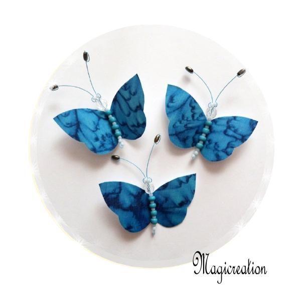 TRIO MAGNETS PAPILLONS SOIE BLEU MARBRE - Boutique www.magicreation.fr