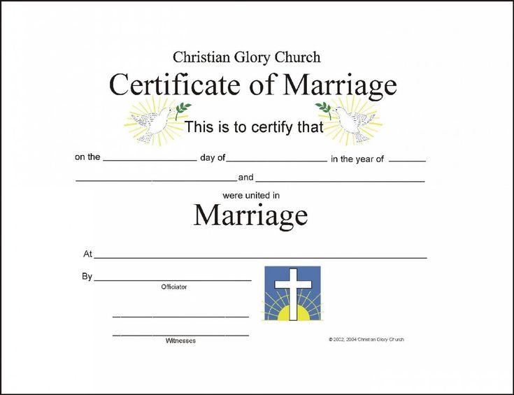 christian wedding certificate sample