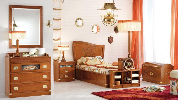 Navy style bedroom, natural mahogany finishing. by #Caroti  #VecchiaMarina #HandMade      -      Cameretta in stile marina, rifinitura in mogano naturale.