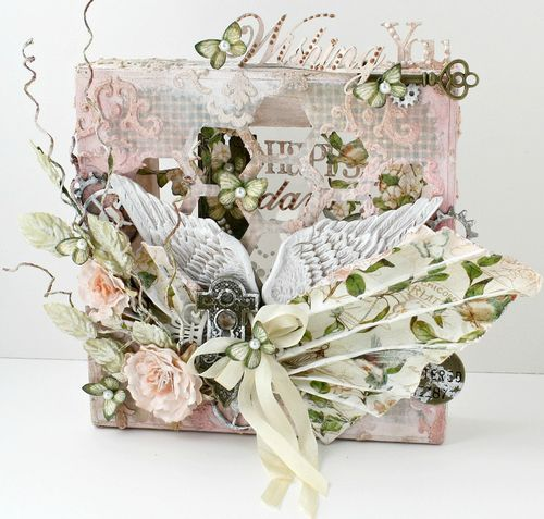 This mixed media altered canvas by Miranda is breathtaking! So many gorgeous elements and beautiful colors, and love how she used the Secret Garden paper! #graphic45 #mixedmedia