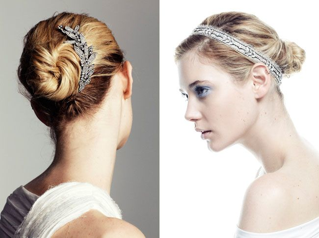 I wear my hair in a bun with a headband everyday. Why not just glam it up for the BIG day?