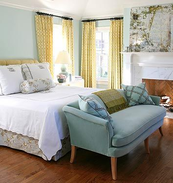 Master Bedroom Inspiration Blue Walls Check Sofa White Quilt Now I Just Need Upholstered Headboard Bed Skirt