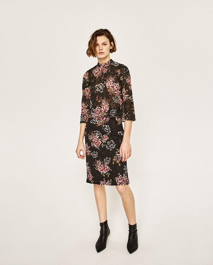 ZARA - WOMAN - FLORAL PRINT GUIPURE LACE TOP