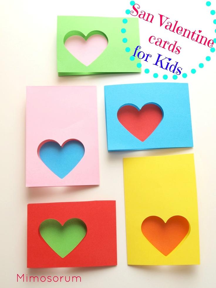 Tarjetas rápidas y fáciles para San Valentín. San Valentine cards for Kids. Mimosorum