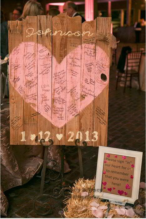 cute idea! Wedding sign painted on reclaimed wood by lovinmyboys on Etsy, $110.00.  We could easily make something like this.