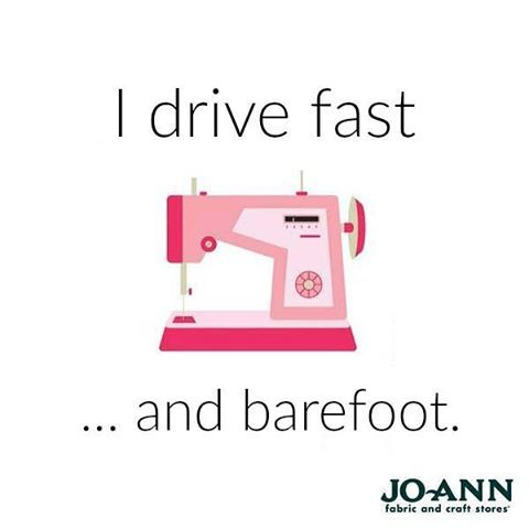 I drive fast and barefoot. Tag a seamstress who would love this! #MondayMantra…