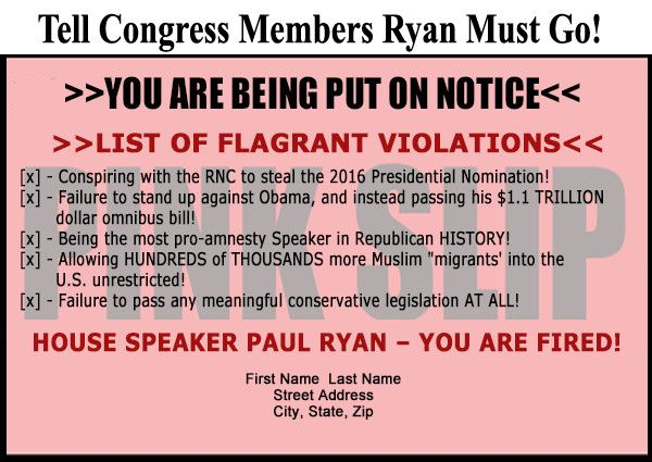 Paul Ryan Challenger Fights Back: House Speaker's 'Disdain and Disrespect for American Electorate Breathtaking' –  http://www.teaparty.org/paul-ryan-challenger-fights-back-house-speakers-disdain-disrespect-american-electorate-breathtaking-162390/?promocode=tpo-12427143&utm_source=newsemail&utm_medium=email&utm_campaign=tpo-12427143