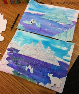 It is Art Day!:  Icebergs, collage, eric carle, habitats, watercolor, winter, animals