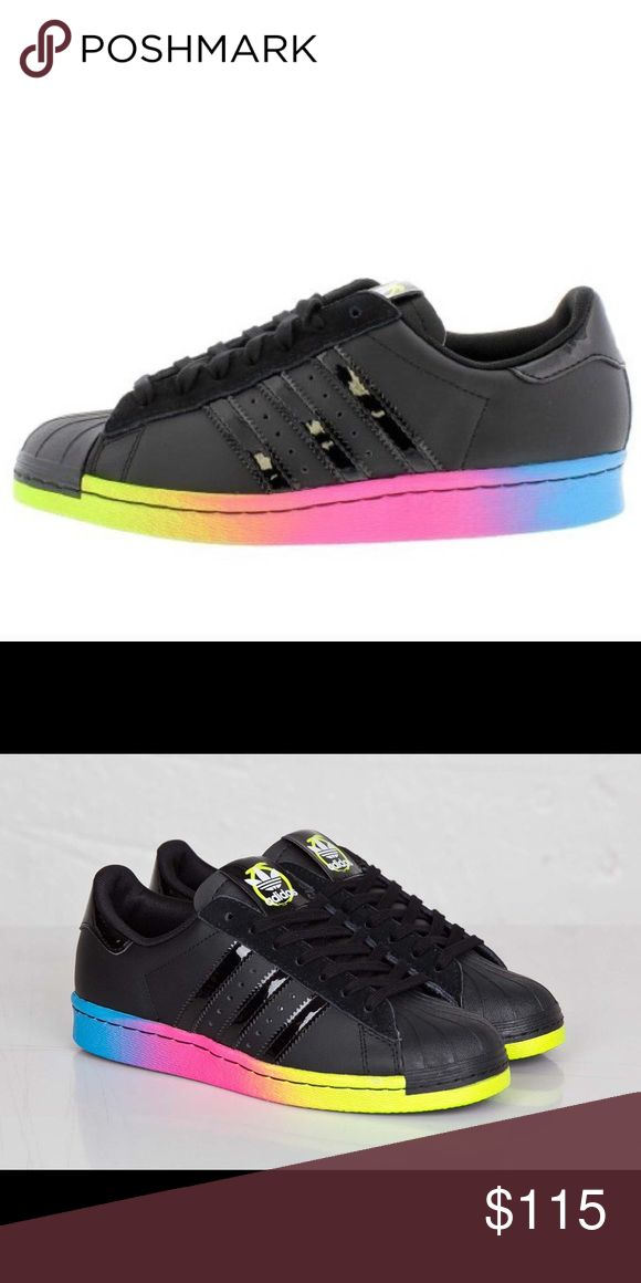 RARE Rita Ora x Adidas Superstar Shoes in Rainbow Limited Edition: Black and neon rainbow colorblock shoes. Only worn once and didn't fit me, make an offer! Adidas Shoes Sneakers