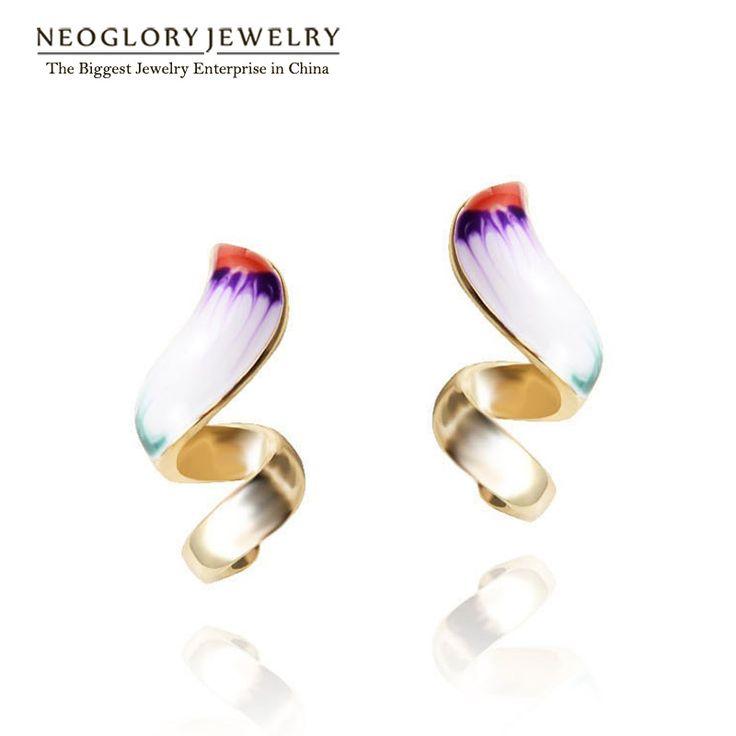 Neoglory 골드 도금 에나멜 드롭 귀걸이 십대 소녀 문 인도 보석 사랑 생일 선물 2017 새로운 패션 브랜드 ena1