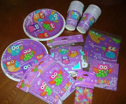 10 Packs 79 PC Owl Party Supplies Cups Napkins Plates Tablecloth Banner & MORE $19.99