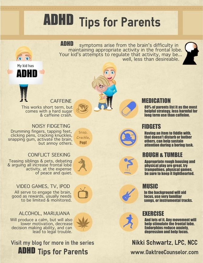 ADHD Tips for Parents Infographic. Suggestions on how to help those with ADHD focus and stay on task. This is the updated link! @OaktreeCounsel
