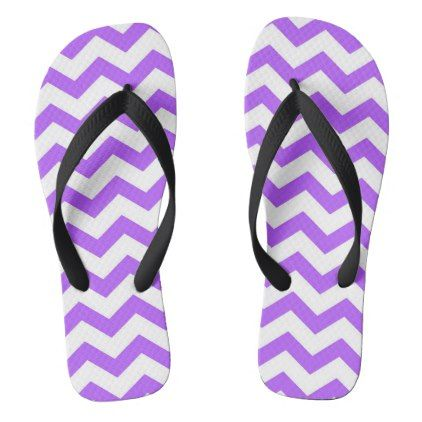 Purple Chevron Stripes Flip Flops - patterns pattern special unique design gift idea diy