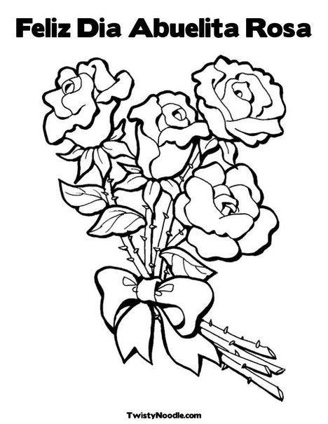 feliz dia abuelita rosa coloring page from twistynoodlecom - Feliz Cumpleanos Coloring Pages