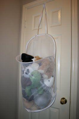 Wreath Hanger+Door+Mesh Laundry Hamper = Stuffed animal storage @Rachel Anderson