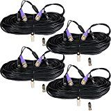 VideoSecu 4 Pack 100ft Video Power HD Security Camera Cables Pre-made All-in-One Extension Wire Cord with BNC RCA Connectors for 960H HD-CVI HD-TVI AHD CCTV Surveillance Camera DVR System CBHD1004 A1G   Plug and Play ready. For camera with DC power only. All-in-one video and power cable 100 feet...