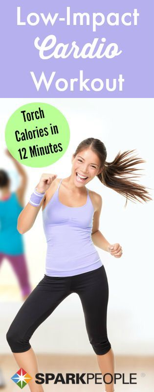 Low impact doesn't have to mean low calorie burn. This fun cardio workout is short and sweet but will leave you sweating!  | via @SparkPeople #fitness #exercise