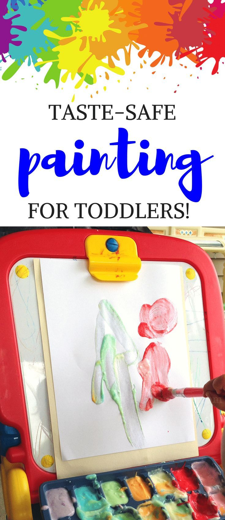 Looking for toddler painting ideas but worried your little one will eat more paint than she gets on the paper? This toddler paint activity is taste-safe, colorful, and the perfect sensory activity for toddlers! Edible paint - Taste-safe paint - toddler paint #painting #toddlers #ediblepaint #tastesafepaint via @HappyPlaceMom