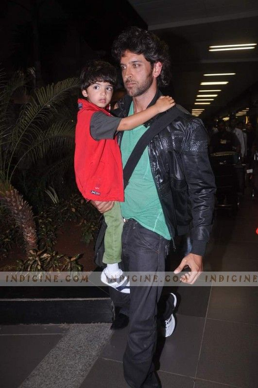 Hrithik Roshan with son Hridhaan Roshan snapped at the airport