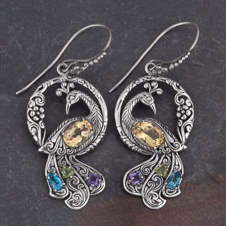 Sterling Silver Citrine Multi-stone 'Dancing Peacock' Earrings (Indonesia) - Overstock™ Shopping - Great Deals on Earrings