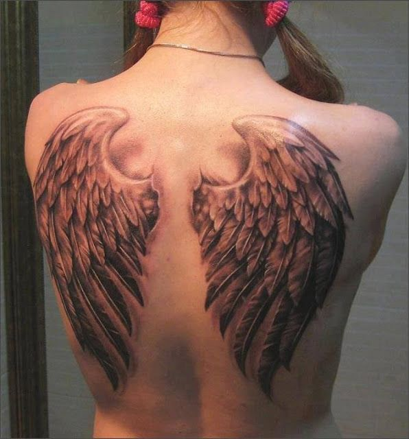 Realistic 3D angel wings tattoo on back