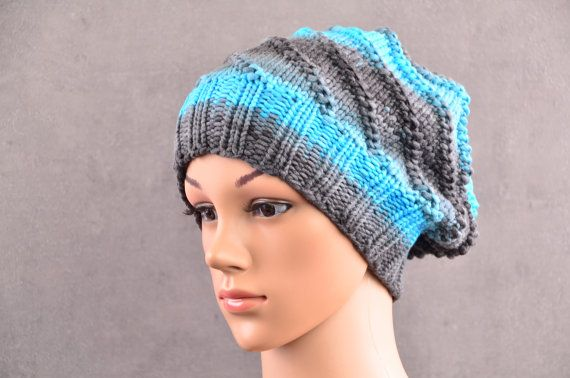 Krebsmütze grau türkis // Chemo Mütze in von AngisWollBobbl auf Etsy // new cancer hat for woman in gray and turquoise knitted eco friendly yarn wool with cashmere, silk and bamboo - ready to ship worldwide in my stores on Etsy and handmade@amazon